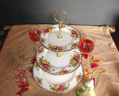 供應骨瓷三層蛋糕盤英國皇家玫瑰 1