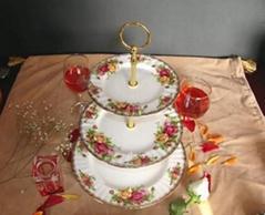 供应骨瓷三层蛋糕盘英国皇家玫瑰