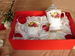 供应骨瓷正大盖杯英国皇家玫瑰+调羹