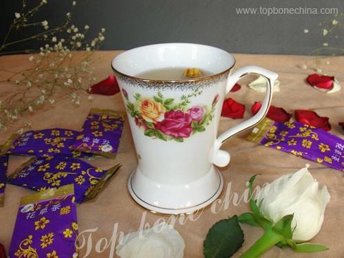 供應骨瓷正大蓋杯英國皇家玫瑰+調羹 2