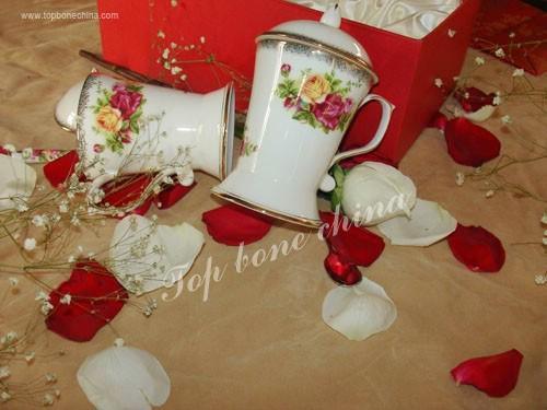 供應骨瓷正大蓋杯英國皇家玫瑰+調羹 4