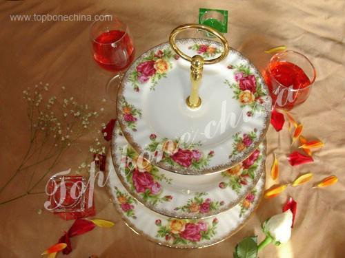 供應骨瓷三層蛋糕盤英國皇家玫瑰 2