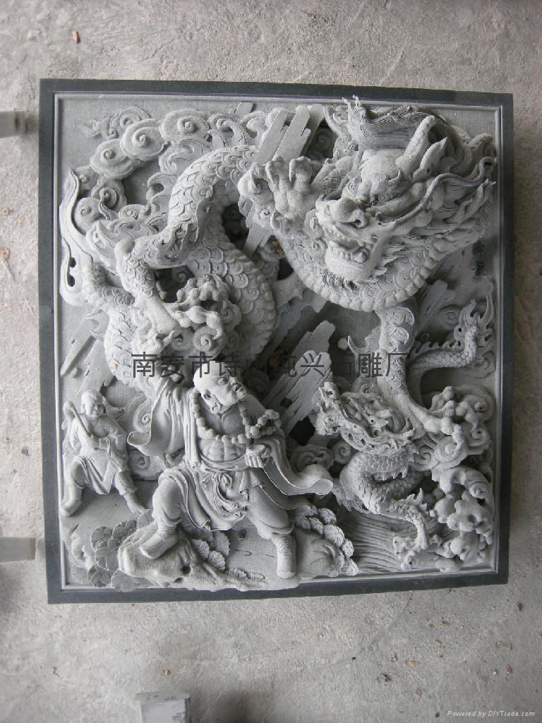 Bluestone carving ancient architecture relief process sd