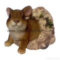 Polyresin Rabbit By Bank Ornament