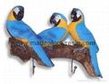 Polyresin/polystone parrots wall hooks