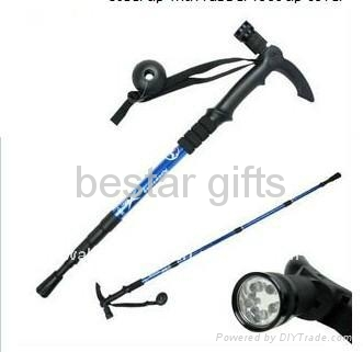 LED walking stick with flashlight