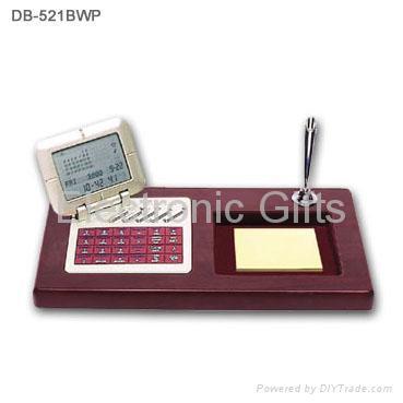 Wood base desktop calendar with databank calculator 4