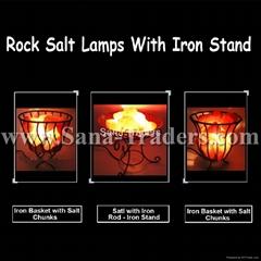 Iron Stan Lamps With Salt Chunks
