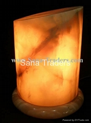 Natural Marble Onyx Designed Cut Cylinder Lamp
