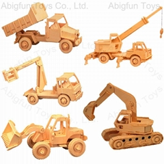 wooden construction kit vehicle craft model