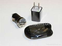 Home Wall+Car Charger AC Adapter+USB Cable for iPhone 4S/4/3GS/3