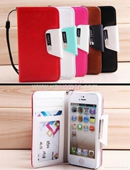Card Holder Wallet PU Leather Case Cover For Apple iPhone 5 5G Flip Stand