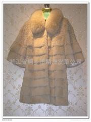 皮草服飾 女士兔毛狐領大衣