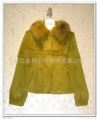 皮草服飾 草綠色女士兔毛狐狸領服裝