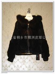 皮草服飾 黑色女士獺兔毛大衣+狐狸領