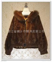 皮草服饰 咖啡色女士獭兔毛大衣+狐狸领
