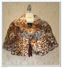 皮草服飾 豹紋女士兔毛帶水鑽小披肩