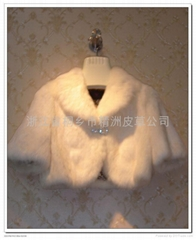 皮草服飾 單色女士兔毛帶水鑽小披肩