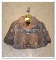 皮草服飾 女士單色兔毛帶水鑽小披肩