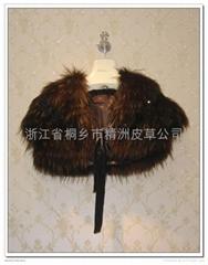 皮草服飾 女士貉子絲帶披肩