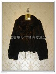 皮草服飾 女士水波紋兔毛大衣+獺兔領