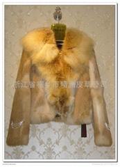 皮草服飾 女士兔毛狐狸領(整皮)大衣