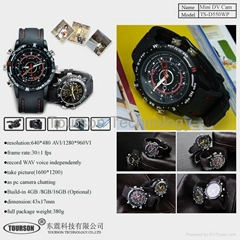 1280*960 waterproof spy watch camera with built in memory