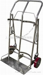 QXC-022 不鏽鋼和鋼管噴塑 氧氣瓶推車