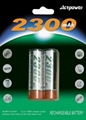 2pcs Ni-MH AA 2300mAh rechargeable batteries