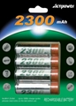 4pcs Ni-MH AA 2300mAh rechargeable batteries.