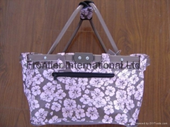 Shopping baskets with flower print fabric