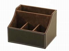 供应时尚精美4格位皮革遥控器盒价格