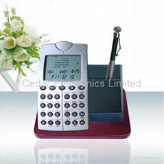 Pen Holder Digital Calendar with Databank Calculator