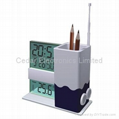 LCD Calendar Clock with FM Radio and Penholder