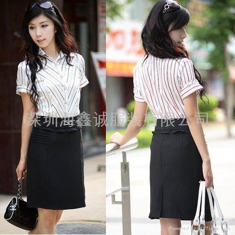 竖条时尚短袖衬衣 - 短袖衬衫女装
