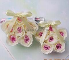 flower soap in star-shape PVC box