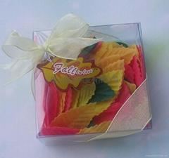 树叶型沐浴皂片入PVC盒