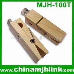 Popular 4gb 8gb woody clip usb flash drive stick memory key disk