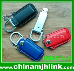 Popular 8gb 16gb leather and metal usb flash drive stick memory key disk