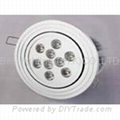 9 watt, With 9 LED's, LED light bulb, Round Ceiling Down light