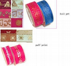 Polyester Ribbon + Foil Print or Puff Print or stitch ribbon, two color ribbon,