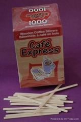 wooden coffee stirrer paper wrap