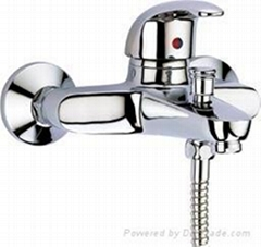 Single lever wall mounting bath mixer-brass chrome