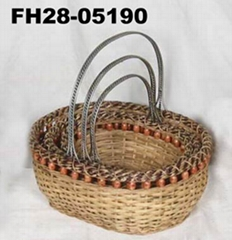 Iron and Rattan Basket