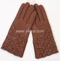 ladies fashion leather gloves with button fastening