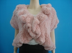 sheared rabbit fur knitted coat