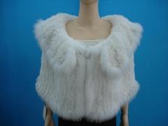 seta-free rabbit fur knitted shawl hemmed with white fox fur