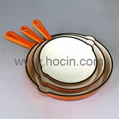 Round Enameled Cast Iron Frying Pan,