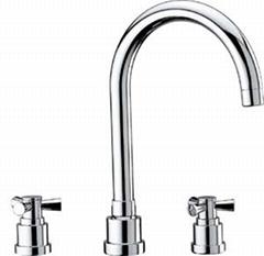 Wide spread basin faucet