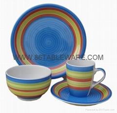 Stoneware handpainted circles 16pc dinner set